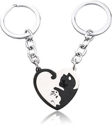 D・STONE 猫 キーホルダー ペア カップル キーリング ネコちゃん ステンレス製 プレゼント