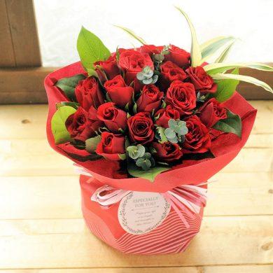 20本の赤いバラの花束